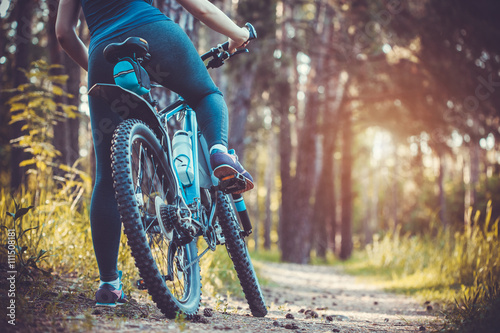 Obraz cyclist riding mountain bike in the forest - fototapety do salonu