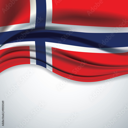 Vector Norway flag blowing in the wind on gray background Fotobehang