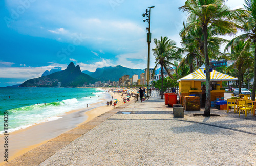 Ipanema beach and mountain Dois Irmao (Two Brother) in Rio de Janeiro, Brazil