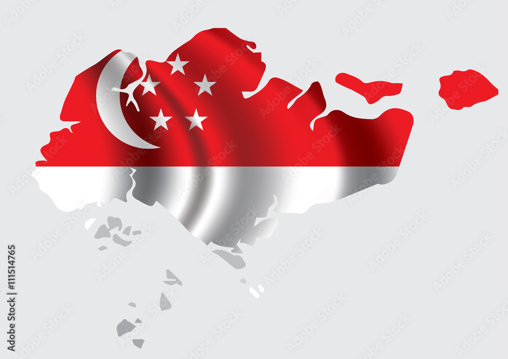 Vector Singapore flag blowing in the wind in Singapore map shape ...