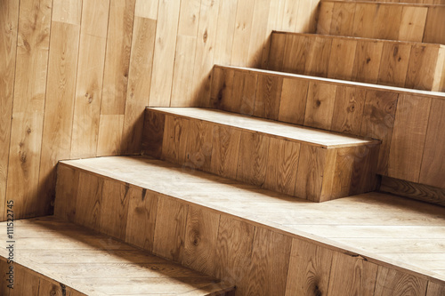 Photo sur Toile Escalier Interior fragment, uncolored wooden stairs