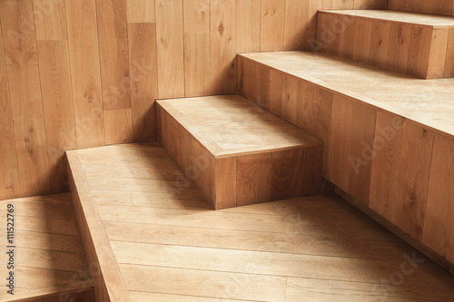Poster Trappen Abstract empty interior, natural wooden stairs