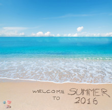 Welcome To Summer 2016 Written On A Tropical Beach