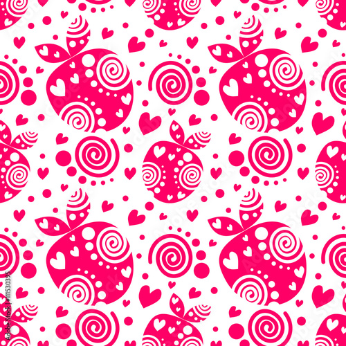 Seamless vector pattern with pink decorative ornamental beautiful strawberries and dots on the white background. Repeating tiled ornament. Series of Fruits and Vegetables Seamless Patterns. Fototapete