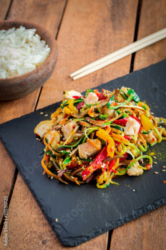 Stir Fried Chicken Meat With Various Vegetable Canvas Print