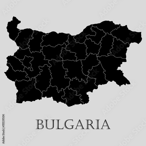 Black Bulgaria map - vector illustration Canvas Print