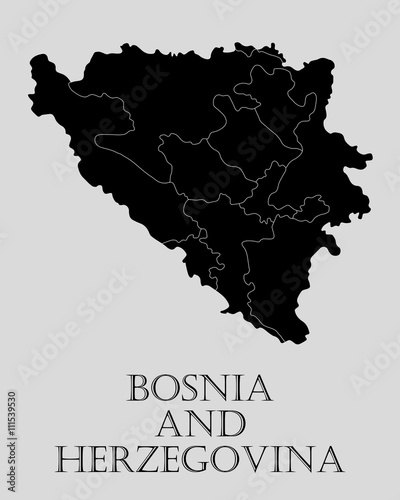 Fotografía Black Bosnia and Herzegovina map - vector illustration