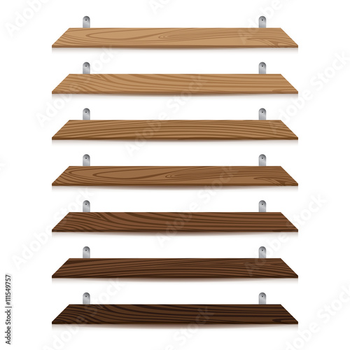 Blank Wooden Bookshelf Isolated On White Background Texture