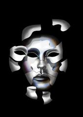 Panel Szklany Podświetlane Wenecja Eclatement en morceaux d'un masque de carnaval de Venise, laissant apparaître un autre masque