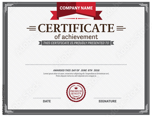 Certificate Template Vector Illustration Design Red Ribbon