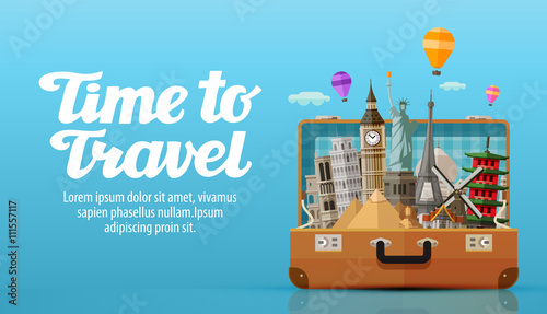 travel to world. open suitcase with landmarks. vector illustration
