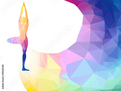 Vector Rainbow Polygonal Label With Woman Silhouette Of Yoga Pose Yoga Sport Invitation Poster Or Flyer Background With Empty Space Banner Template Colorful Polygonal Triangle Background Vector Buy This Stock Vector