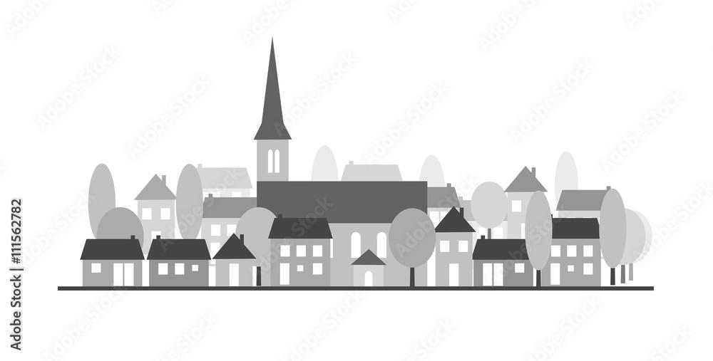 Fototapety, obrazy: Village-silhouette