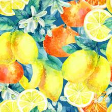 Watercolor Mandarine Orange And Lemon Fruit Branch With Leaves Seamless Pattern