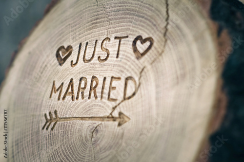 Fotografie, Obraz  Woodcarving. Newlyweds, Just married, inscription on the wedding