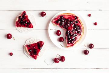 summer yogurt dessert with berries, top view, flat lay