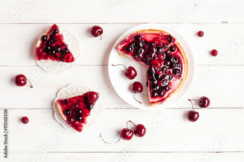 Tuinposter Dessert summer yogurt dessert with berries, top view, flat lay
