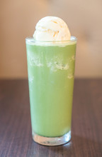 Ice Cream Float With Green Tea Frappe