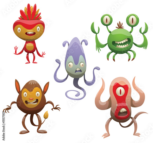 Deurstickers Vector set of five funny cartoon monsters. Various monsters of different colors on a white background. Cartoon different monsters. Set of monsters. Vector cartoon monsters. Vector illustration.