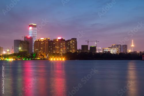 Fototapeta China's Shenyang city building at night