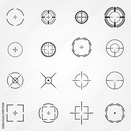 Fotografía  Crosshair icons set for computer games shooters or original mouse cursors pointers for computer programs