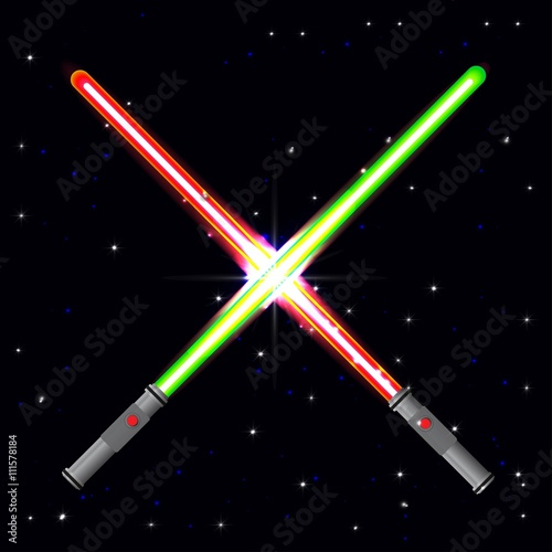Two light swords on stars background. Canvas Print