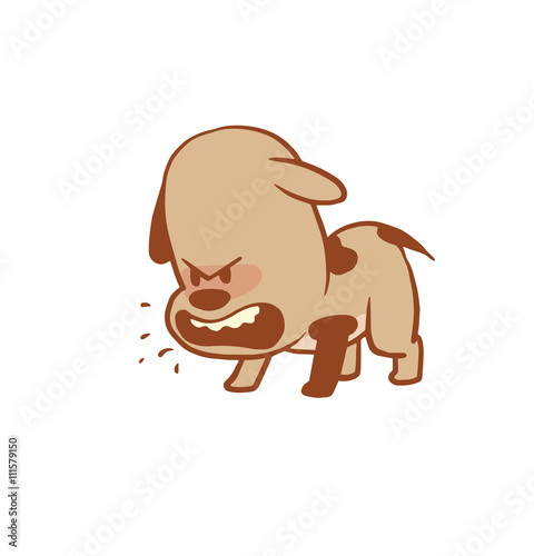 Vector Cartoon Image Of A Funny Little Angry Dog Light Brown Color Barking On A White Background Color Image With A Brown Tracings Puppy Positive Character Vector Illustration Buy This Stock