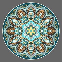 Fototapeta Flower Mandala in turquoise colors. Vintage decorative elements. Oriental pattern. Islam, Arabic, pakistan, chinese, ottoman, Indian, turkish motifs