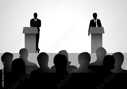 Two men figure debating on podium Wallpaper Mural