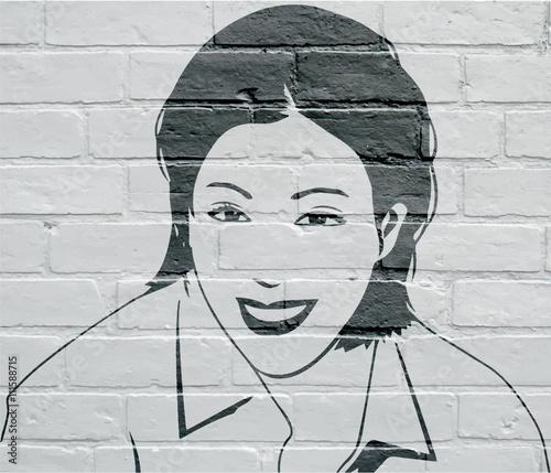 Art urbain, portrait de femme Wallpaper Mural