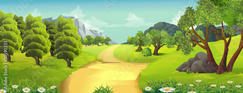 Deurstickers Lime groen Nature landscape, rural road, vector background