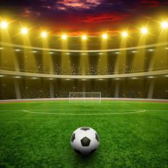 Fototapeta piłka na stadionie ze światłem