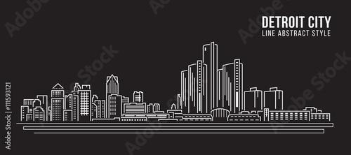 Cityscape Building Line art Projekt ilustracji wektorowych - detroit miasta