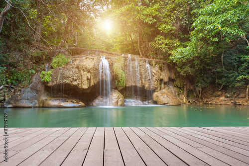 Wooden plank and background with Waterfall #111594149