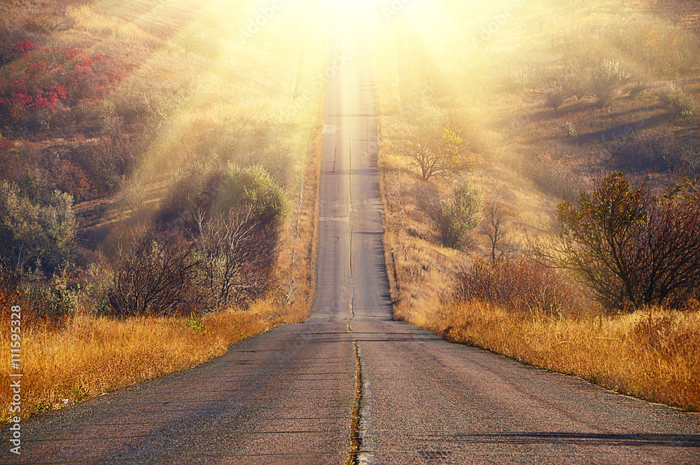 Fototapeta road with poor coverage in the wilderness going up. Gentle sunlight autumn time. Yellow vegetation around, withered grass, nobody.