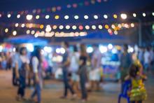 Blurred Night Market Walking Street In Thailand