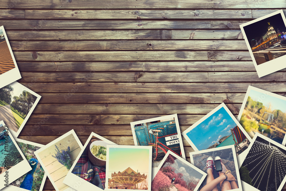 Fototapety, obrazy: Frame with old photographs of paper, on wooden background