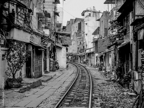 Houses located close to active railway in Hanoi, Vietnam