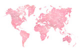 World map filled with a photograph of blurred (booked effect) pink hearts - 111605345