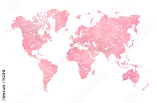 Staande foto Wereldkaart World map filled with a photograph of blurred (booked effect) pink hearts