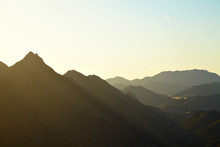 Panoramic View Of Meadows, Hills And Sky In Malibu