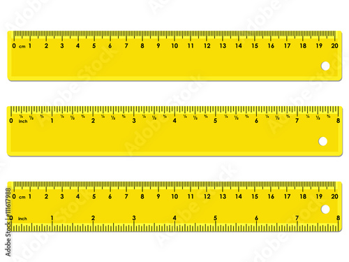 set of three yellow rulers marked in centimeters inches and combined rectangular shape. Black Bedroom Furniture Sets. Home Design Ideas