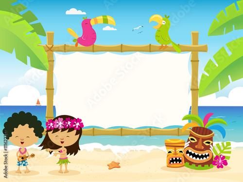 Stampa su Tela  Hawaiian Billboard with Kids Illustration