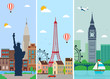 Cities skylines design with landmarks. London, Paris and New York cities skylines design with landmarks. Vector
