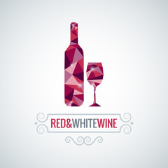 Fototapeta Wino wine bottle poly design vector background