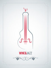Panel Szklany Do winiarni wine bottle jazz design vector background