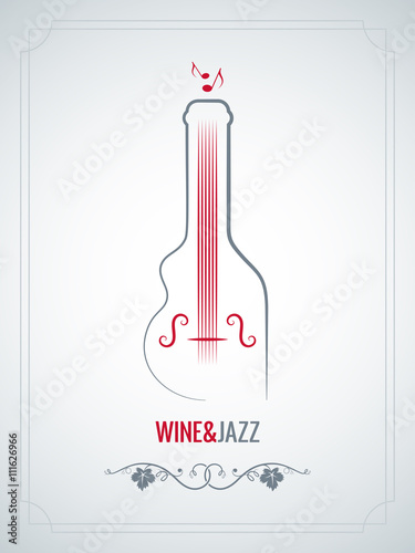 wine bottle jazz design vector background - 111626966