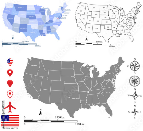 United States Map With Mileage Scale.Map Of Usa With Mile Scale Global Map