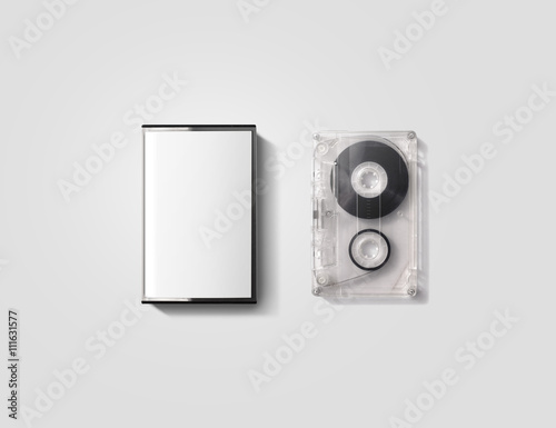 Fotografering Blank cassette tape box design mockup, isolated, clipping path.