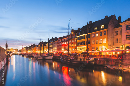 Colorful houses in Copenhagen old town at night Wallpaper Mural